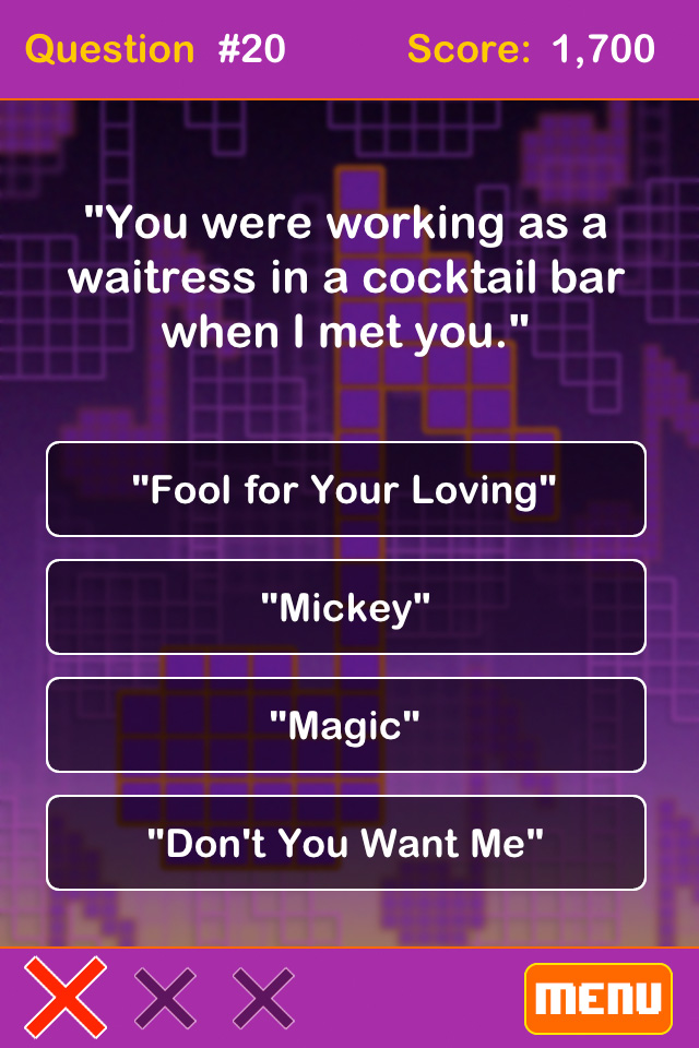 Screenshot '80s Song Lyrics – Tidbit Trivia